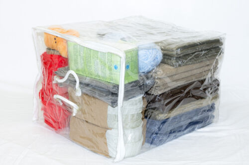 Clear Vinyl Zippered Storage Bags 15 x 18 x 12 Inch with Rope Handle 10-Pack