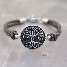 TREE OF LIFE Stainless Steel Braided Leather Bracelet