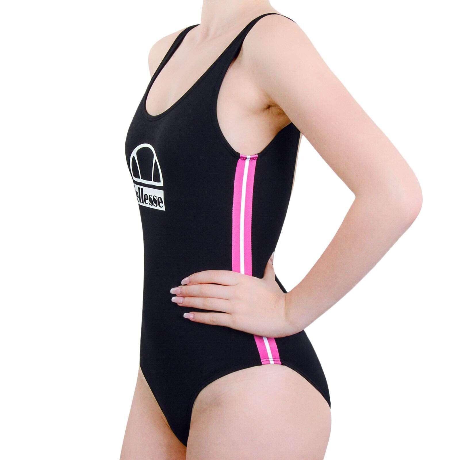 NEW! Ellesse Black Swimsuit Pink Stripes S/34-36, NP 39