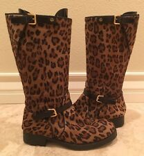 RALPH LAUREN COLLECTION Leather Leopard Pony Hair Riding Moto Boot 9M Italy RARE