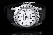 Rolex Stainless Steel Explorer II 16570, White Dial on a Rubber Strap
