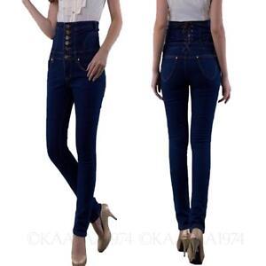 kala-Womens-Button-trousers-Ladies-Hippie-Casual-Pants-high-waist-jeans-Size