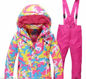 05e4d98076 Girls boys ski set suit kids snowboard outdoor snow jacket pants set ...