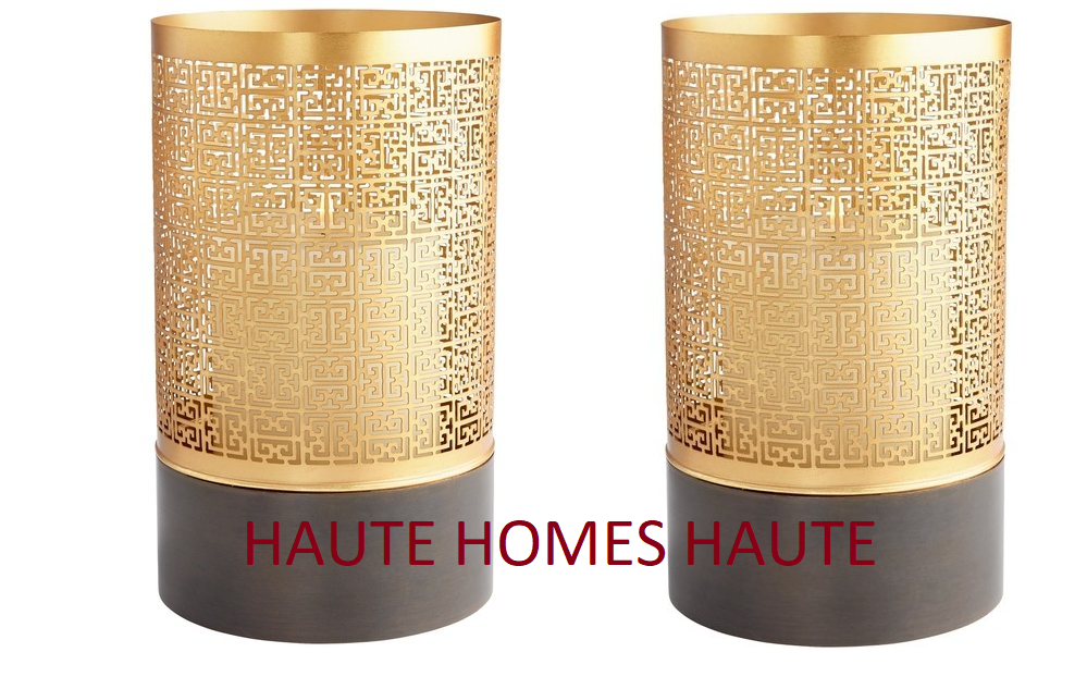 NEW LARGE Gold GREEK KEY MODERN TRANSITIONAL IRON Candle Holder HURRICANE SET 2