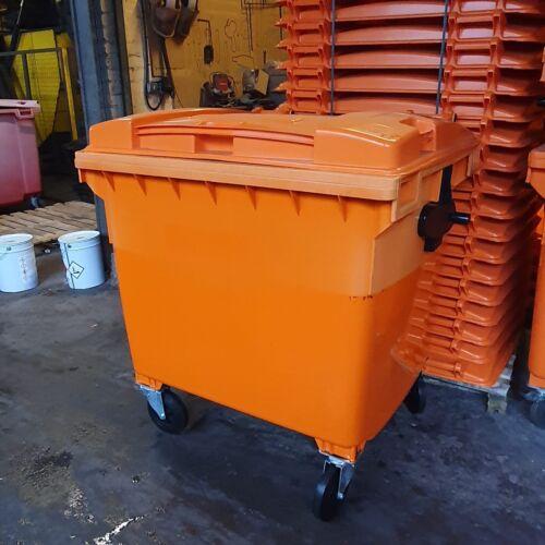 1100 Litre Orange Wheelie Bin