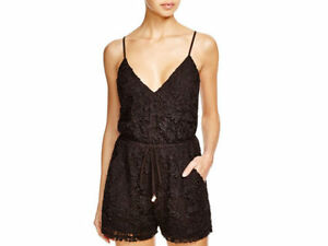 6-Shore-Road-by-Pooja-Weekender-Lace-Romper-Swim-Cover-Up-Sz-S-Black-K28