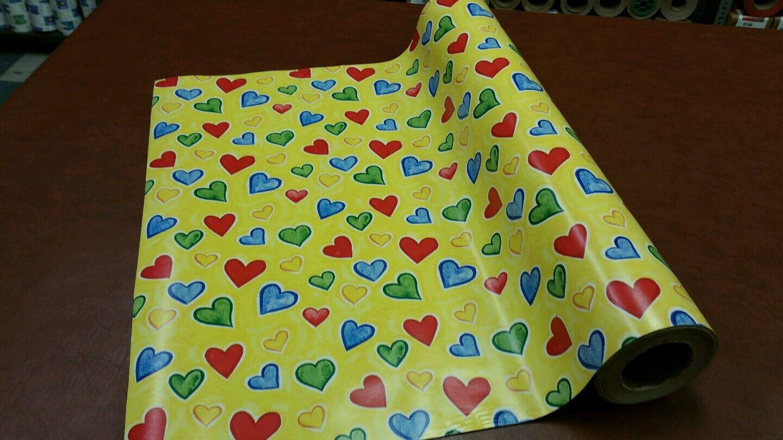 Half ream 30 inch wide Bright Hearts Valentine gift wrap 417 feet