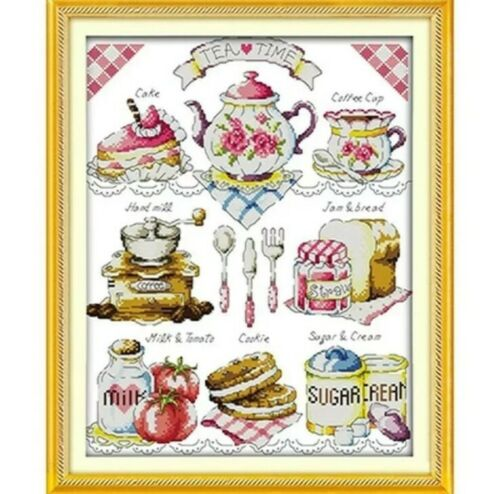 36cm x 44cms Tea Time Stamped//Printed Cross Stitch Kit 14 Count