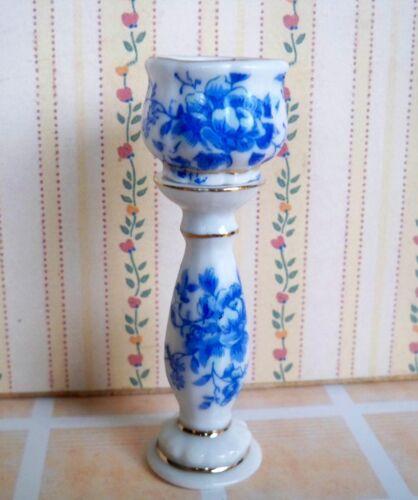 1:12 Porzellan Blumensäule mit Blumentopf für Puppenhaus
