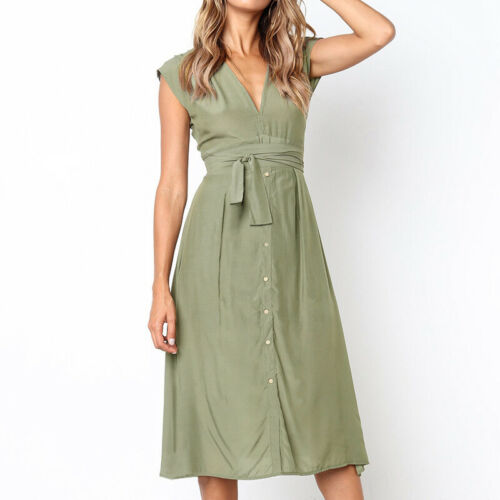 Women/'s Ladies Sleeveless V Neck Striped Lace Up Button Belted Midi Dress 8-14