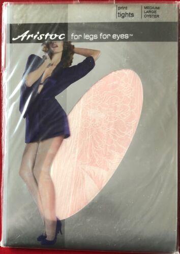 Gorgeous Aristoc Print Tights Pantyhose Oyster Medium-Large