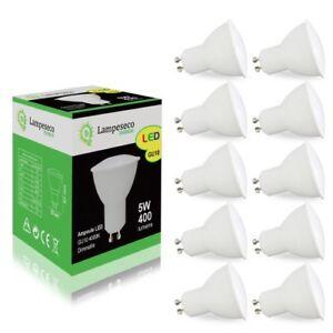 pack de 10 ampoules led gu10 5w blanc neutre 4000k eq 50w. Black Bedroom Furniture Sets. Home Design Ideas