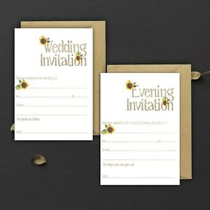 WEDDING-INVITATIONS-BLANK-MOCHA-WATERCOLOUR-amp-SUNFLOWER-DAY-amp-EVE-PACKS-OF-10