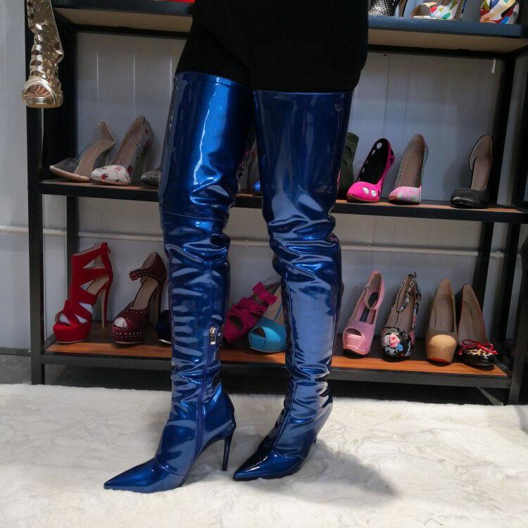 Novelty Women Thigh High Boots Heels Heels Heels Extrem Thigh Shinny bluee Boots shoes Women 50a41e