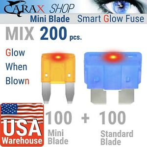 Fuses-STANDARD-blade-MINI-blade-car-smart-ATC-ATO-LED-indicator-GLOW-WHEN-BLOWN