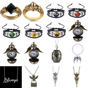 Hot-Harry-Potter-Golden-Snitch-Montre-de-poche-Horloge-collier-pendentif-DEATH-RING