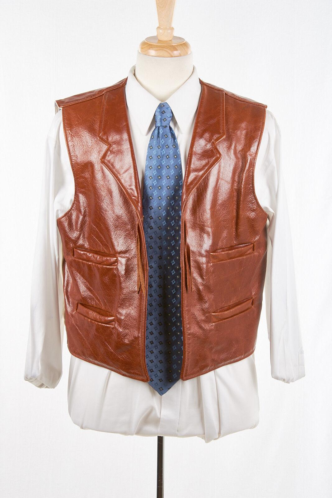 Herren CLASSIC STYLES Leder Vest Sz M in Caramel Braun Western Reenactment Waisc