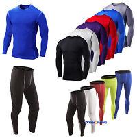 Mens Boys Compression Armour Baselayer Top Thermal Skins Stretch TShirt Leggings