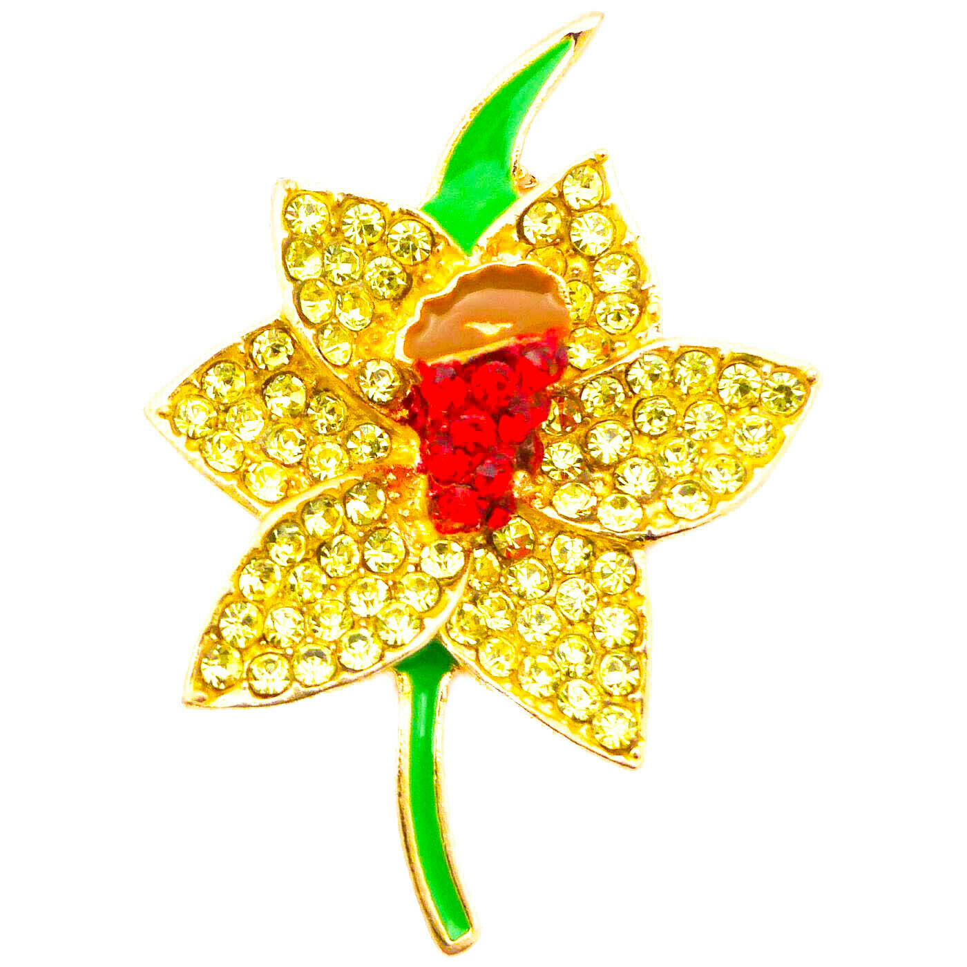 91124f483ab NEW gold DAFFODIL RHINESTONE DIAMANTE CRYSTAL BROOCHES PIN BOUQUET LOT FOR  WOMEN