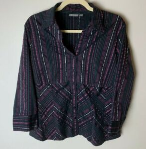 APT. 9 Women's Top Size Large Blouse 3/4 Sleeves Stretch Stripes Casual Work