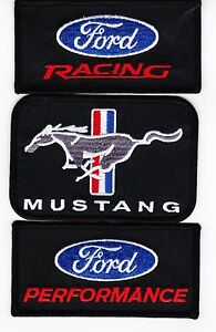 3  LOT FORD V8 MUSTANG RACING EmbroIdered Iron//sewn on Patches Free Ship