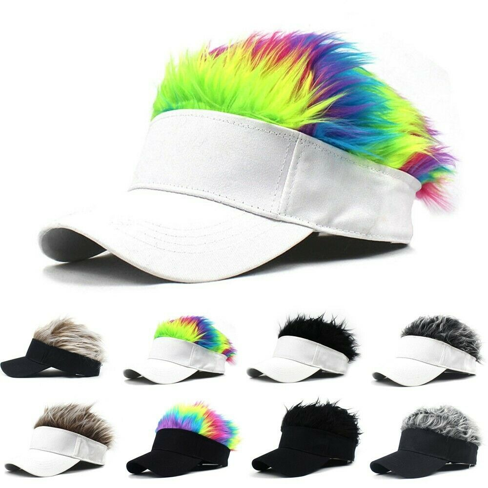 Herren Damen Haar Sonnenblende Kappe Mit Falsche Haar Perücke Neuheit Unisex Hut