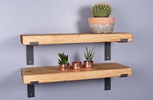 Chunky-Rustic-Industrial-Wood-Shelves-225mm-Metal-Brackets-Handmade