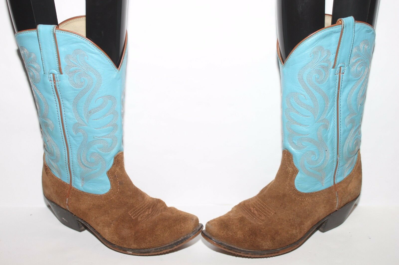 Durango RD5102 TURQUOISE blueE & TAN BROWN Suede Western Cowboy Boots size 6.5 M