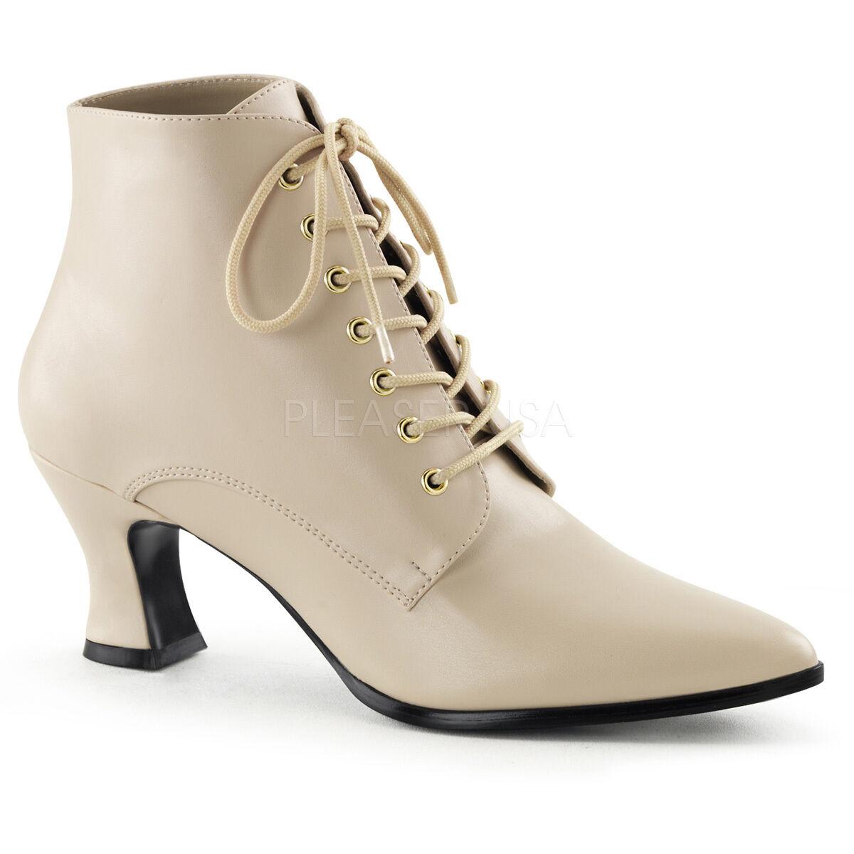 PLEASER FUNTASMA Victorian-35 PU Fancy Fancy Fancy Dress Kitten Heel Lace-Up Ankle Stiefel f3e339