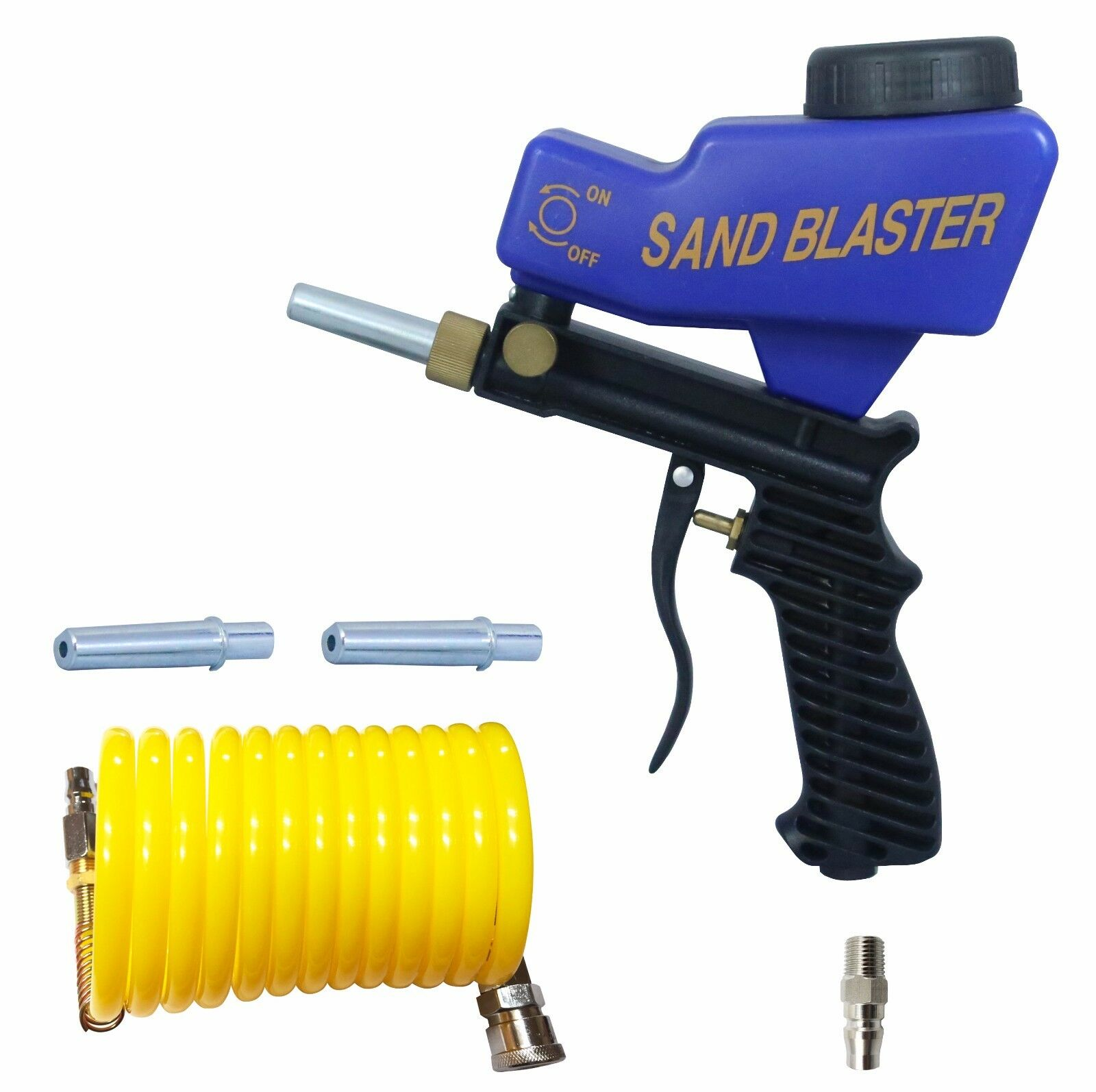 LEMATEC Sandblasting Gun With 1 4  Coupler and Nylon Air Hose Two Tips Blaster