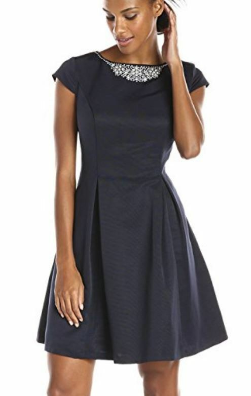 S.L. Fashions Navy Jewel Neck Fit & Flare Cocktail Party Dress -