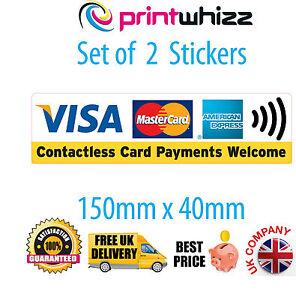 2x-sin-contacto-pagos-con-tarjeta-de-credito-VISA-Card-Etiqueta-impresa-Vinilo-Tienda-Taxi