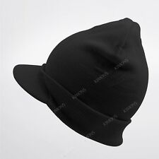 350d92c7b25 2 Lot Double Layer Knit Black Beanie Hat Visor Brim Cuff Ribbed Jeep ...