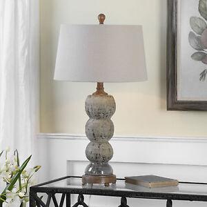 Mid Century Urban 28 Aged Blue Gray Textured Ceramic Table Lamp Ebay