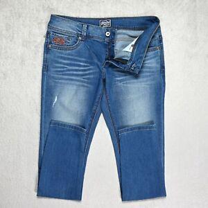 Damen Superdry Slim Skinny Jeans Größe w30 l30 Ripped Stretch Denim Low Rise
