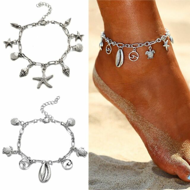 Boho Wave Pendant Anklets Women Fashion Shell Ankle Jewelry Trendy Foot Chain--