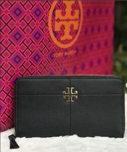 NWT 44732 BLACK Authentic TORY BURCH Pebbled Leather IVY Zip Continental Wallet