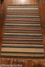 Earthy Tones Antique Swedish Handmade Rag Rug ( 44 x 76 inches)