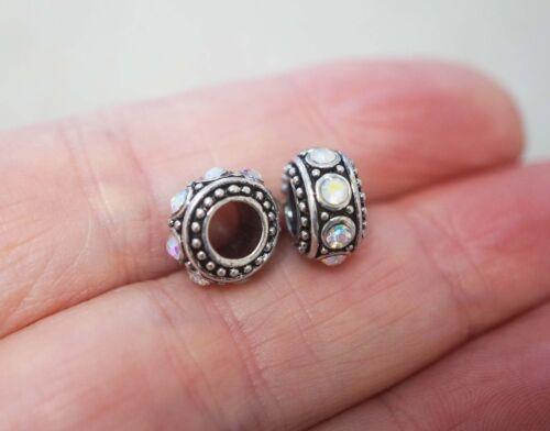10mm Antique Silver 2 Metal Charm Beads for Charm Bracelet Rhinestones