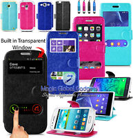 SMART PU LEATHER FLIP WINDOW MEDIA STAND POUCH CASE COVER FOR MANY MOBILE PHONES