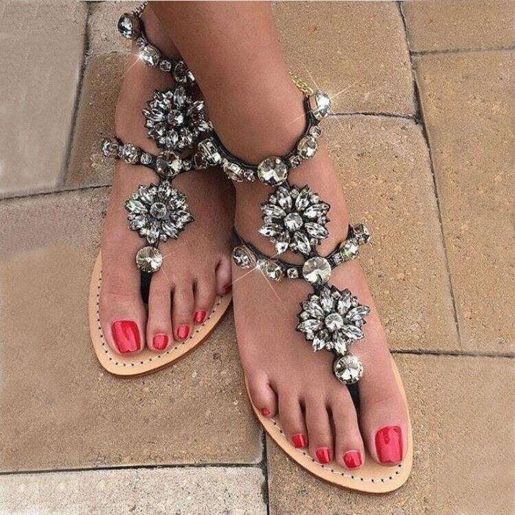 Bohemian Thong Sandals Outdoor Fashion Women Gladiator Rhinestones Beach Sandals