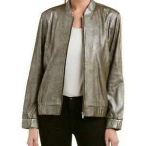 VINCE-CAMUTO-Womens-Foiled-Ponte-Knit-Bomber-Casual-Jacket-Coats-Metall-XS-199