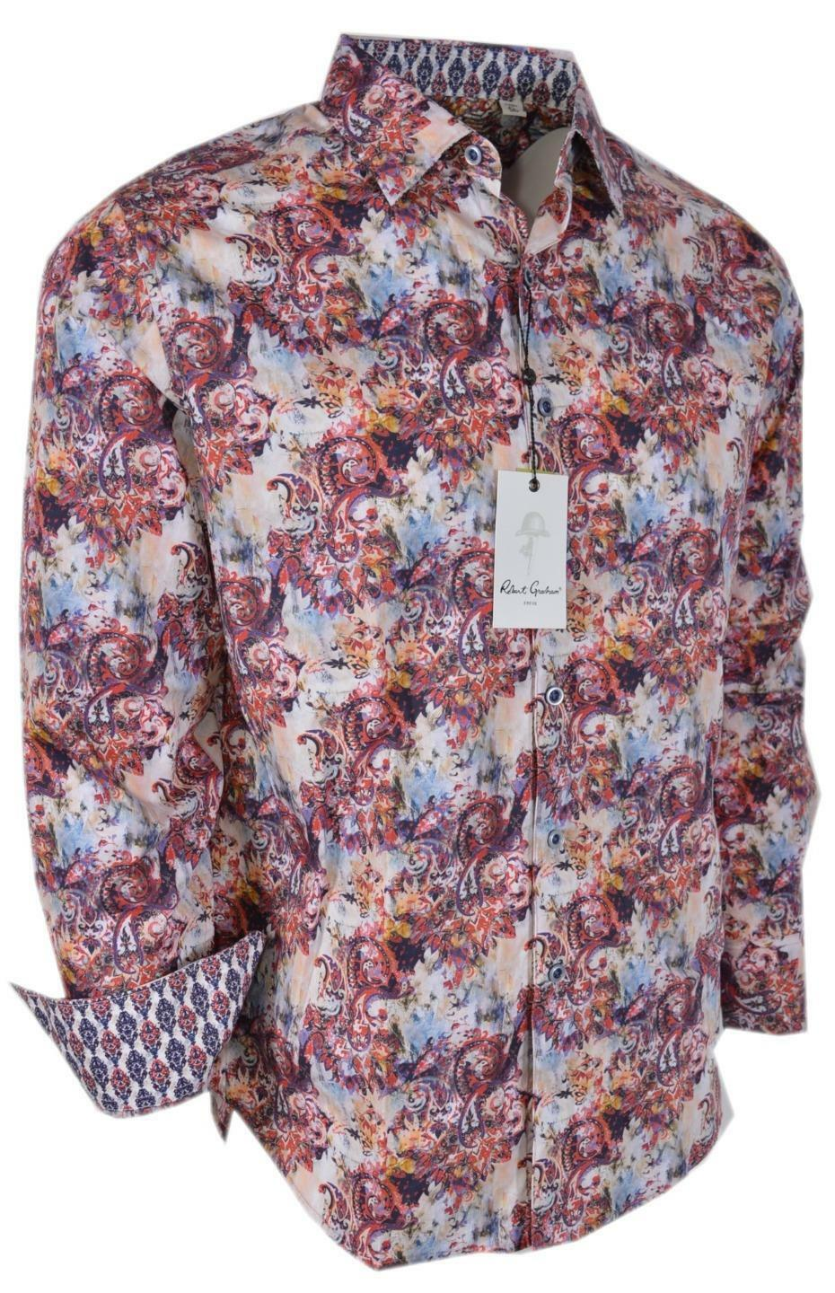 NEW Robert Graham  ENTERTAINER Paisley Print Classic Fit Sports Shirt