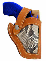 Barsony Tan Leather Python Snake Skin Gun Holster Charter Arms Snub Nose 2