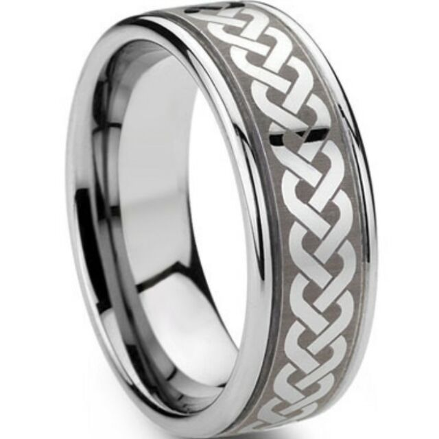 Size 7-15 8MM Stainless Steel Irish Celtic Ring Wedding Engagement Dragon Rope
