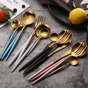 4-Pcs-Set-Stainless-Steel-Cutlery-Gold-Plated-Dinnerware-Knife-Fork-Spoon-Kit