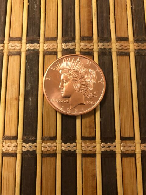 PEACE DOLLAR 1 oz .999 Copper Bullion Rounds Coins 1