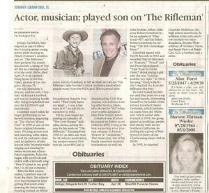 Johnny Crawford 75  Obituary The Miami Herald Actor TV Rifleman 1958