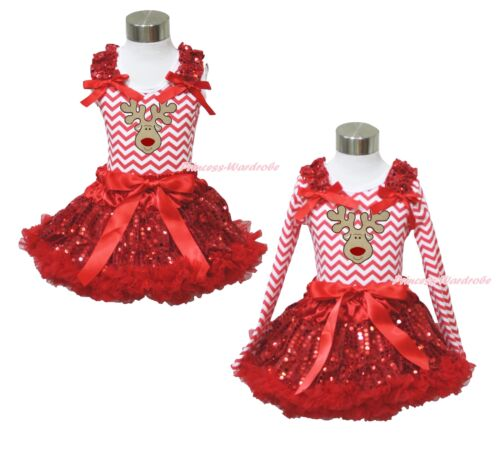 XMAS Reindeer Red White Chevron Top Sparkle Sequins Pettiskirt Girl Outfit 1-8Y