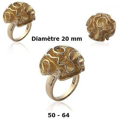 Dolly-Bijoux Bague T64 Rectangulaire Diamant Rose Cz 20 mm Plaqué Or 18K 5Micron